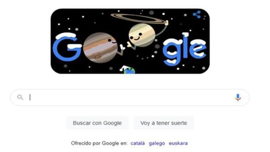 Google recuerda en su doodle la gran conjunción entre Júpiter y Saturno