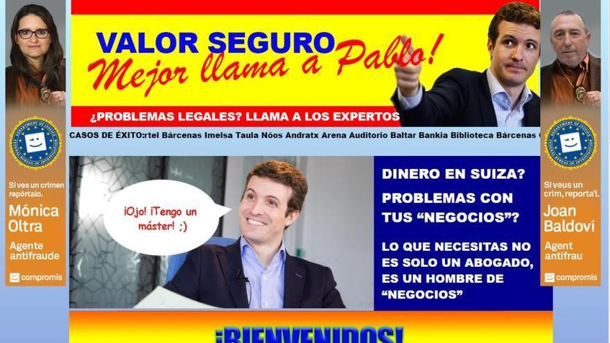 Compromís 'trolea' a Casado con la web 'valorseguro.org'