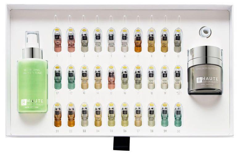 Ritual de belleza personalizado de 30 días. Incluye tónico, crema hidratante y 30 elixires. 695 euros. Haute Custom Beauty.
