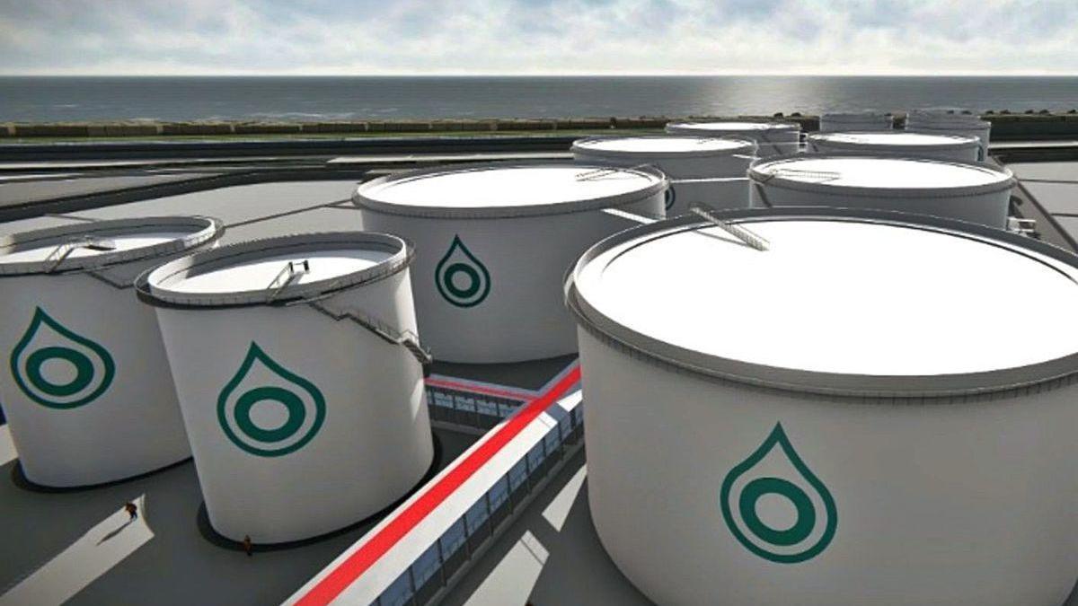 Recreación de los tanques de almacenamiento de Oil Deposit Corunna en Langosteira.