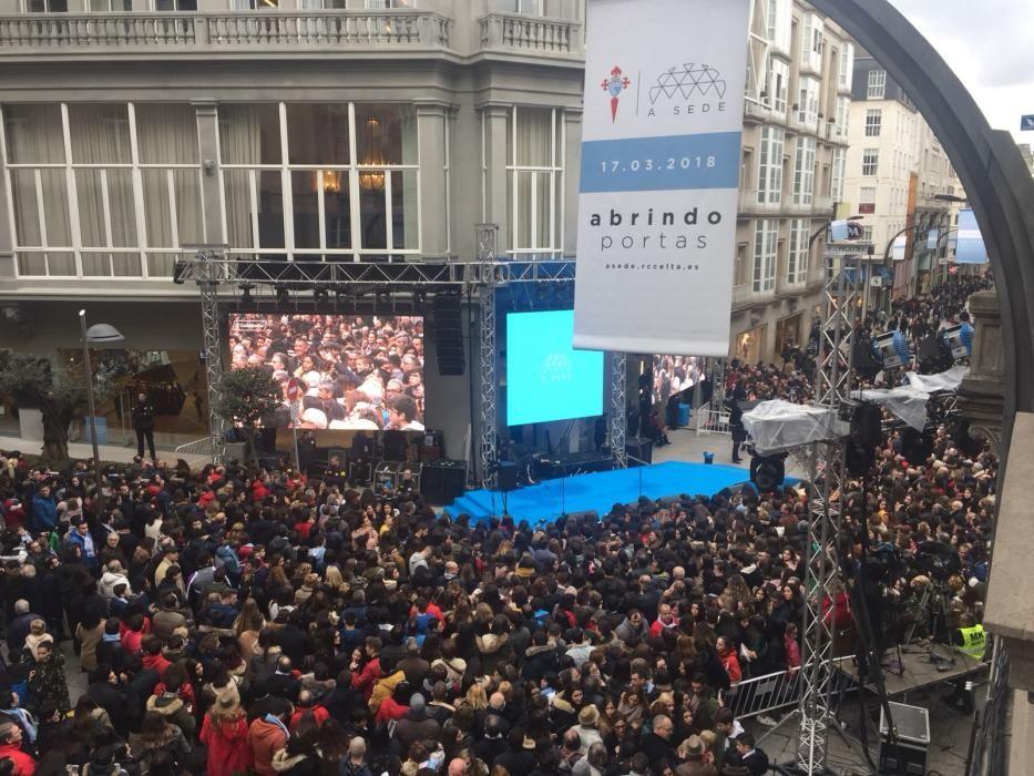 Cientos de aficionados inundaron la calle Príncipe para compartir con los jugadores y la directiva todas las actividades del acto inaugural de la nueva sede.