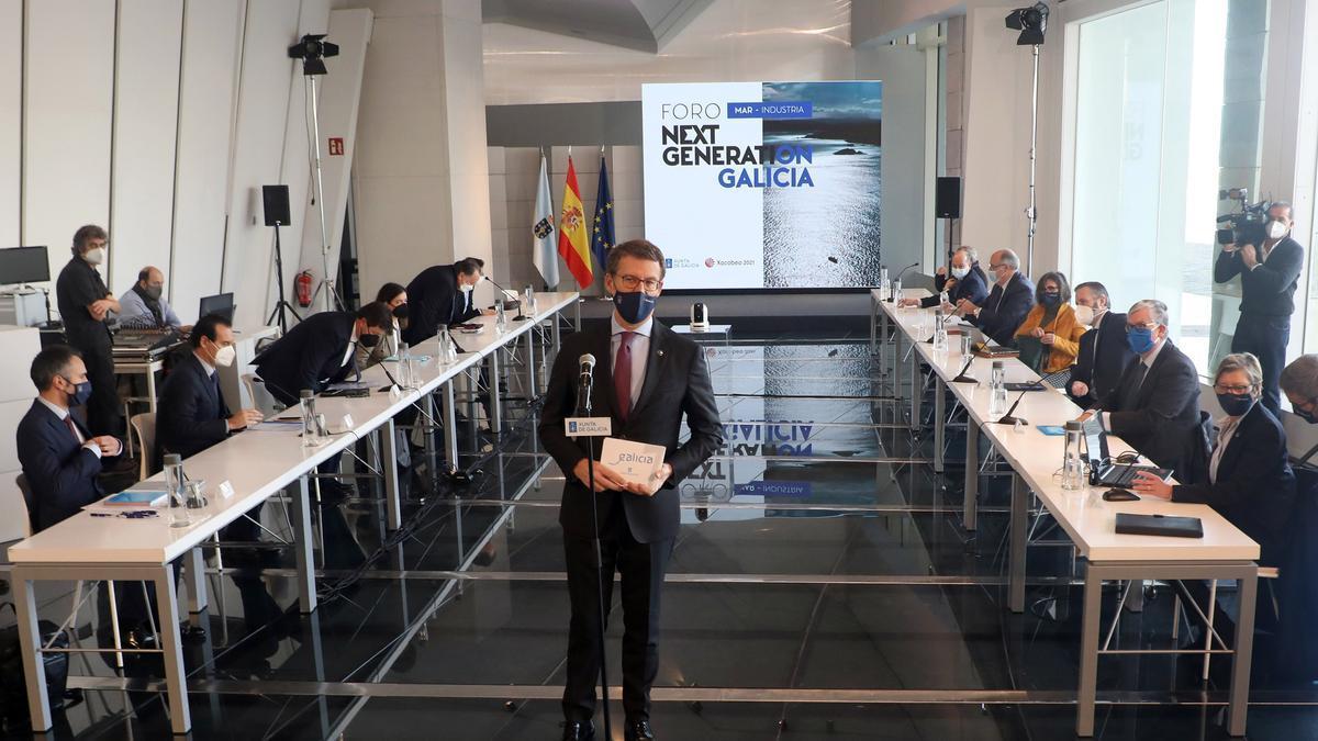 El presidente de la Xunta tras una reunión sectorial del grupo para los Next Generation. // Xoán Álvarez