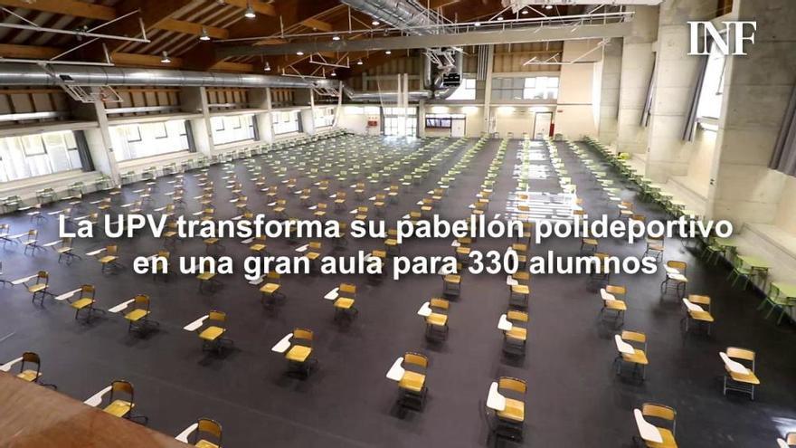 La UPV en Alcoy transforma su pabellón deportivo en una gran aula para 330 alumnos