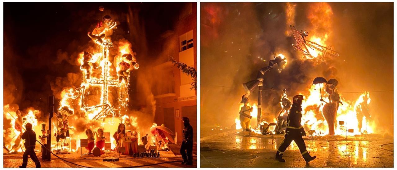 Las fallas ganadoras en cada municipio, cubiertas de fuego. A la izquierda, la de Don Bosco (Burriana) y a la derecha, la de Mercat Vell (Benicarló).