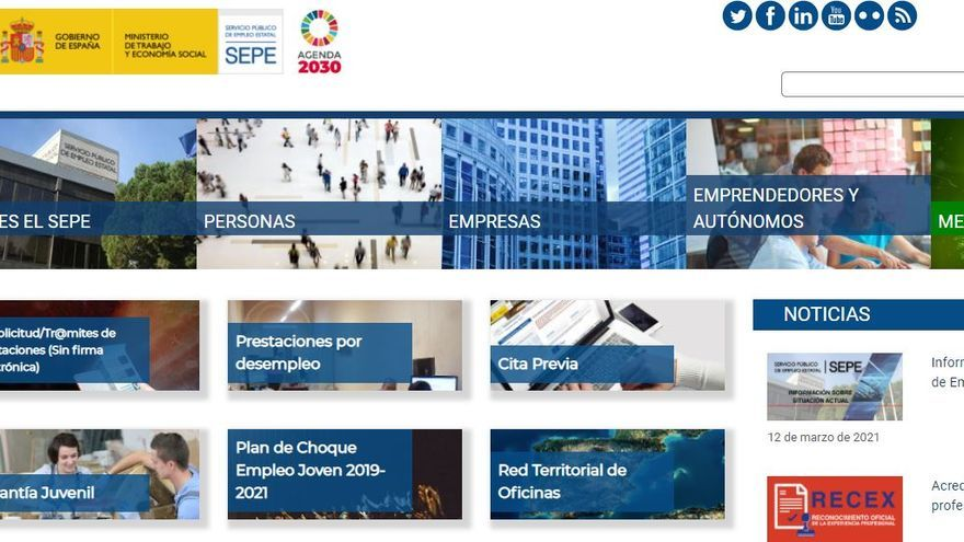 El SEPE reactiva su web tras el ciberataque, aunque todavía no se pueden pedir citas