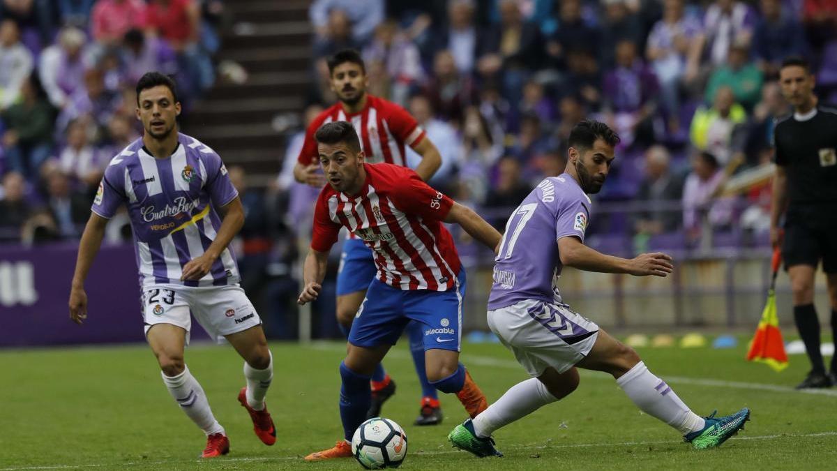 Jony Rodríguez, en el partido entre Valladolid y Sporting de play-off de hace dos años.