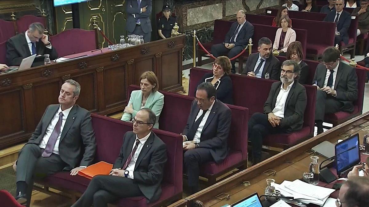 Els líders del procés, durant el seu judici al Tribunal Suprem.   DDG