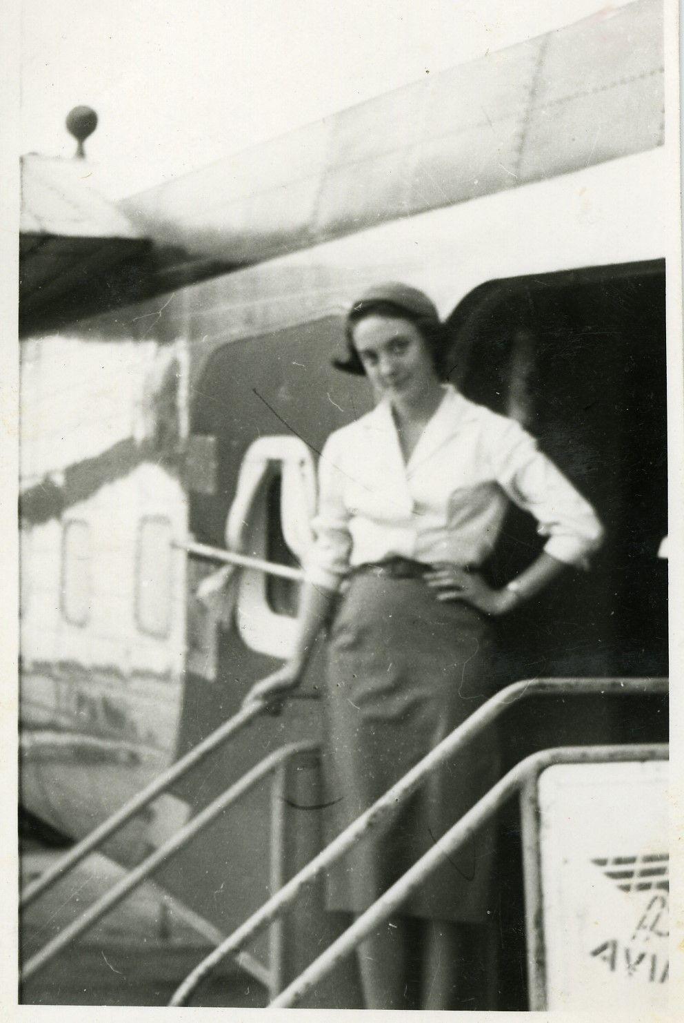 Maribel Sastre era una de las pocas azafatas que avía en España en la década de los años 50. / Cedida