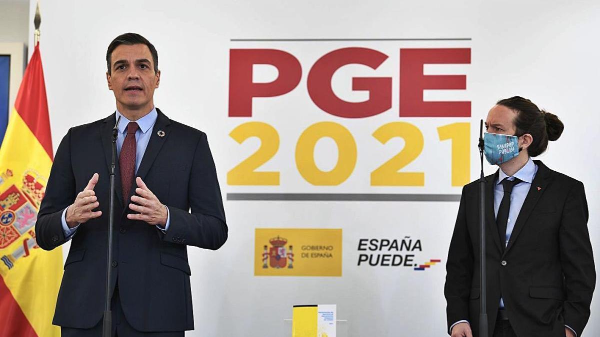 Pedro Sánchez i Pablo Iglesias,  presentant els Pressupostos en una foto d'arxiu.