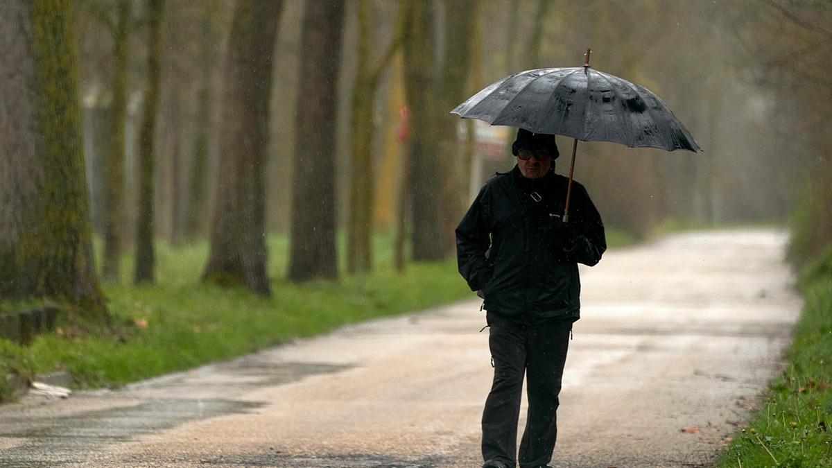Una persona se refugia con un paraguas de la lluvia en una imagen de archivo.