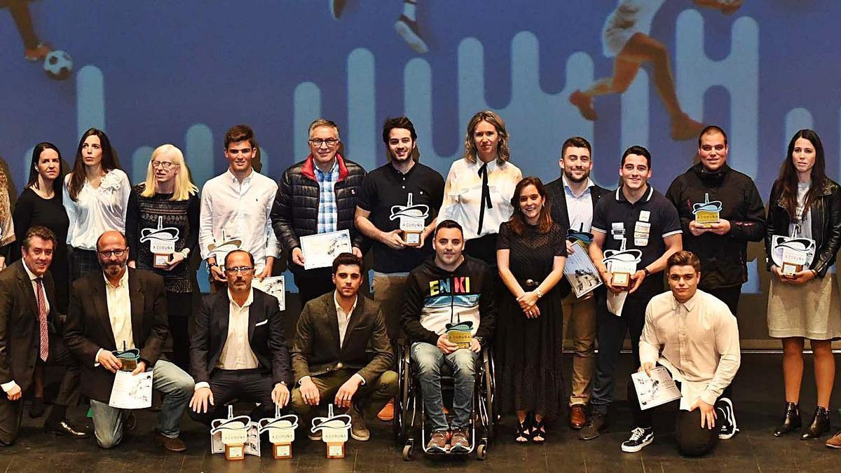 Ganadores de la segunda edición de la Gala do Deporte da Coruña e a súa Comarca que tuvo lugar en 2019 en el Ágora. |  // VÍCTOR ECHAVE