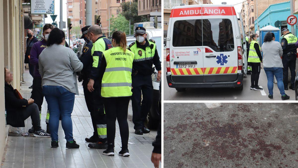 Vecinos, policías locales y sanitarios auxiliaron a la victima, de cuyo sangrado por los golpes quedó rastro en la acera y carretera.