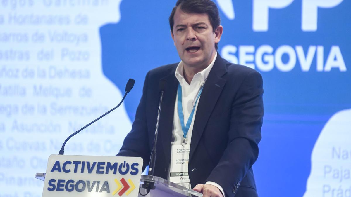 Mañueco durante el XII Congreso Provincial del PP de Segovia.