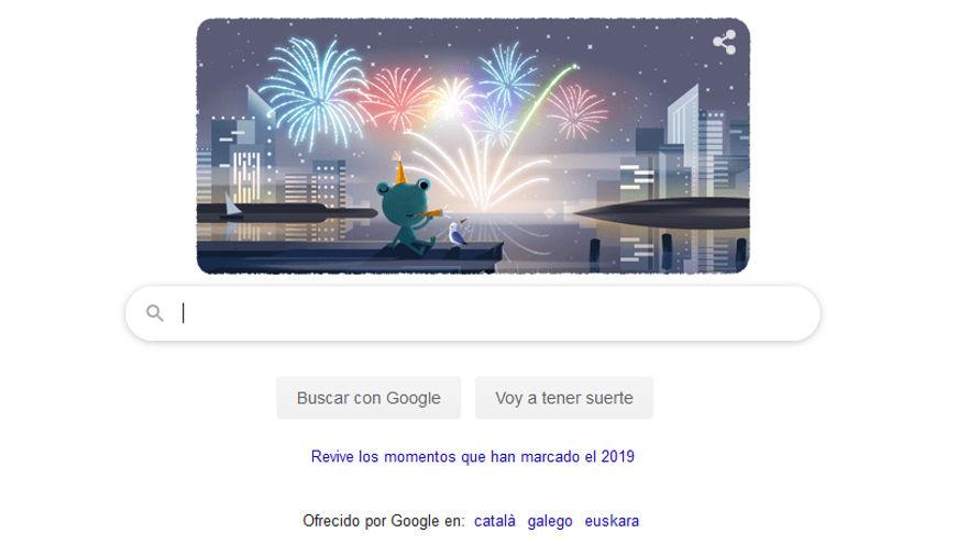 Google felicita la Nochevieja 2019 con un doodle
