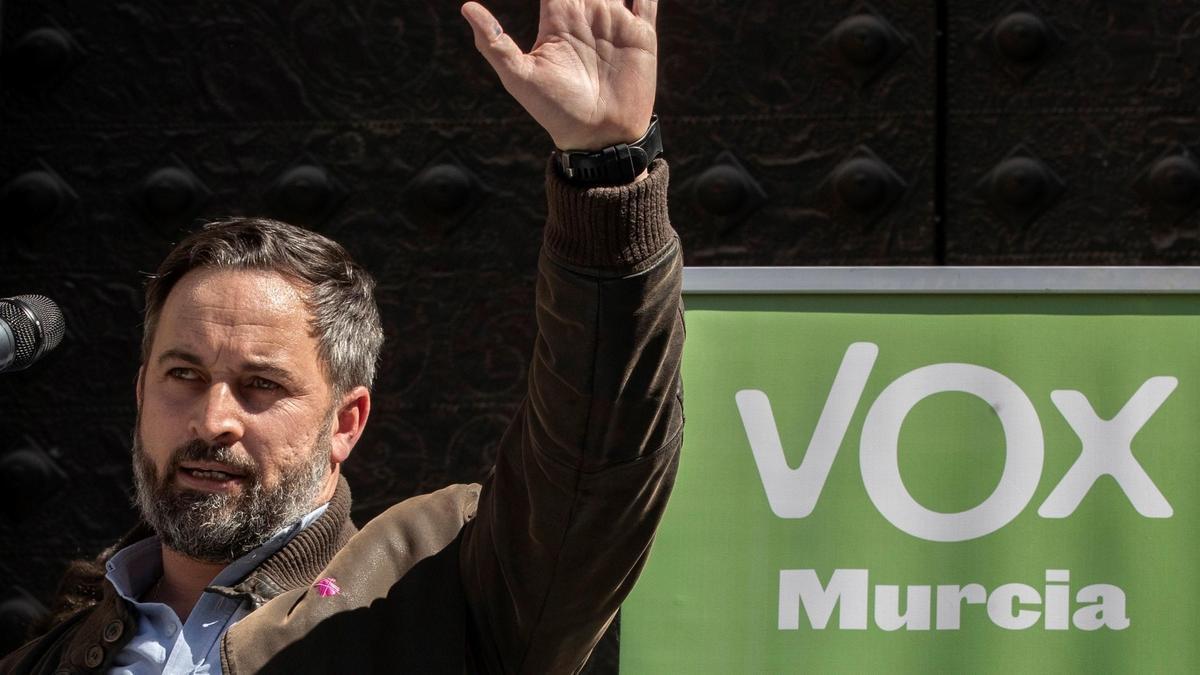 Santiago Abascal, líder de Vox, durante un acto.
