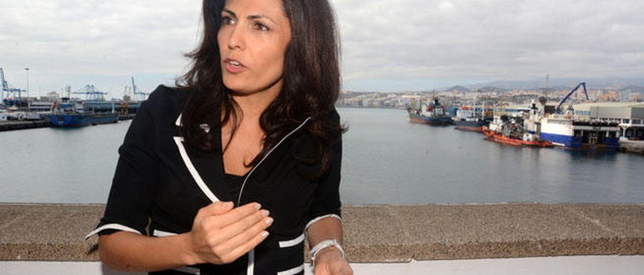 Carmen Sosa, ayer, en la sede de la Autoridad Portuaria.