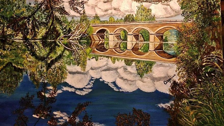 La pintora zamorana Angélica López sigue ampliando su colección de cuadros sobre el Valle del Tera