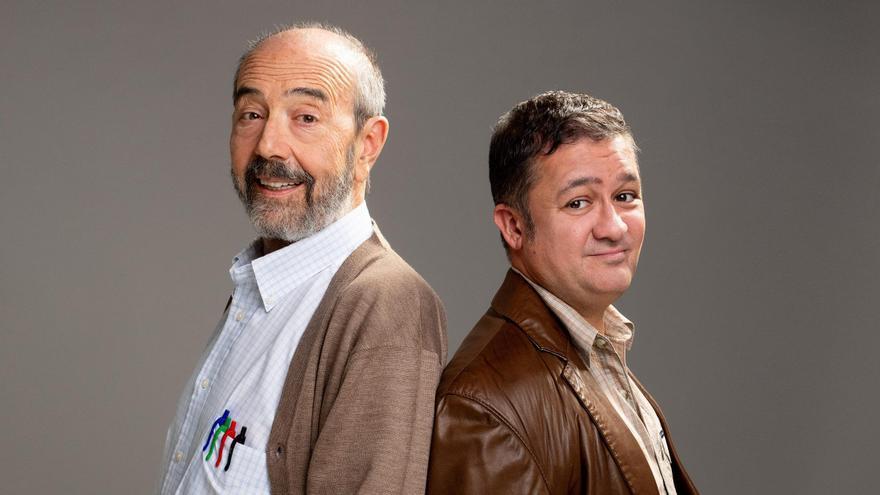 Miguel Rellán y Secun de la Rosa caracterizados como sus personajes en 'Los  asquerosos'.