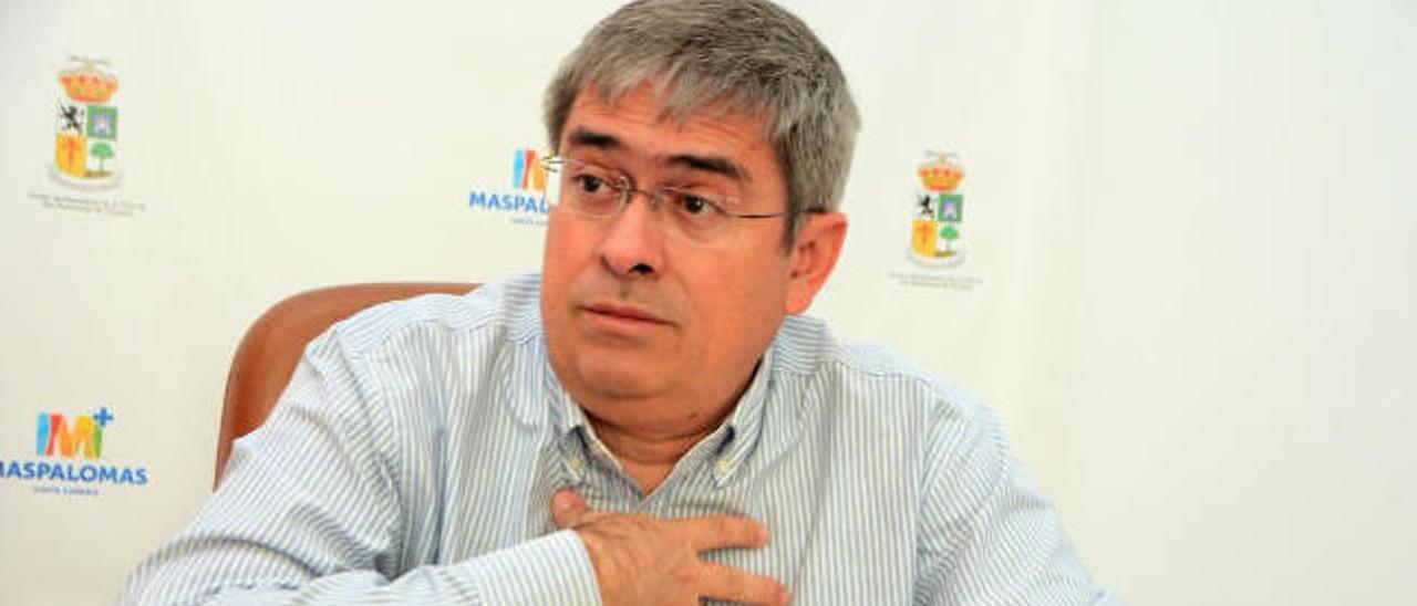 Marco Aurelio Pérez, en el despacho de alcaldía de Maspalomas.