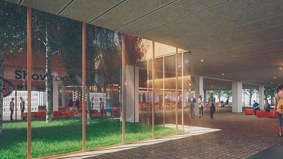 Zonas verdes y paseos dentro de la futura sede corporativa de Hijos de Rivera. |