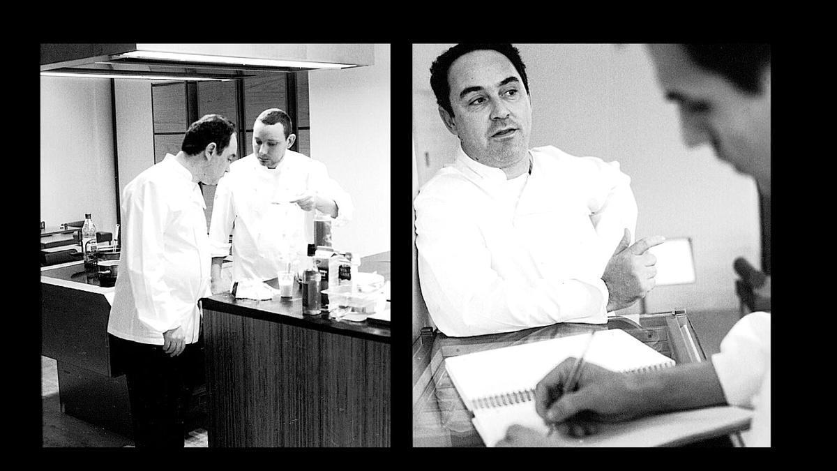 Un muntatge d'imatges de 'Las huellas de elBulli' amb Ferran Adrià.