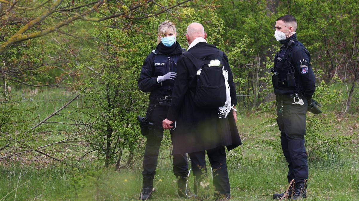 Agentes de Policía en Erfurt, en Alemania