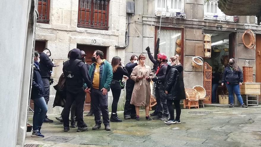 Así fue el rodaje de la serie de Amazon en el Casco Vello de Vigo