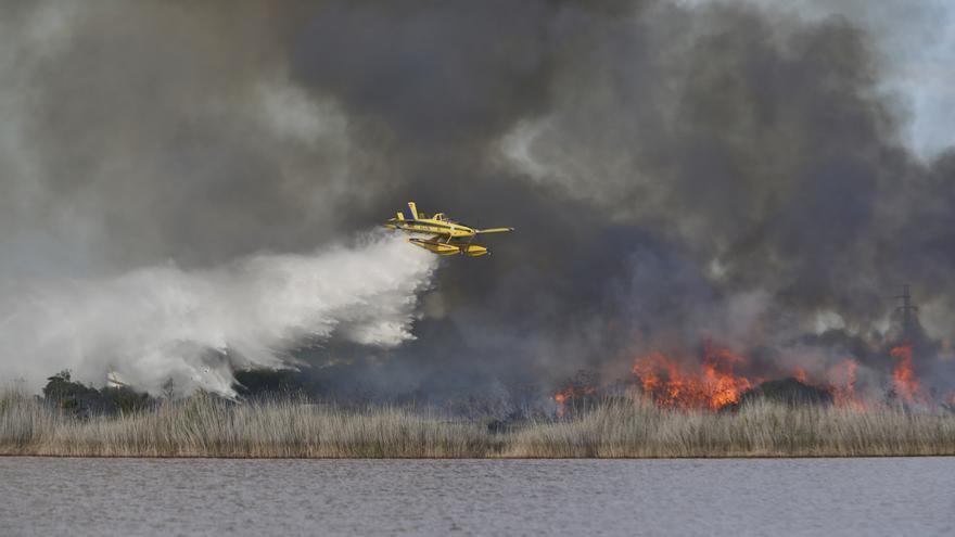 Incendio en de vegetación de saladar y cañas la laguna rosa del parque natural de Torrevieja junto a las Torretas y Lago Sal