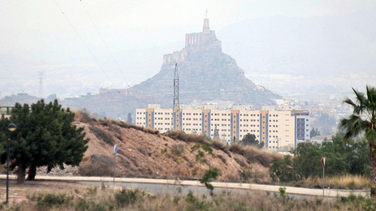 Polvo en suspensión, ayer, en una imagen tomada en Murcia.