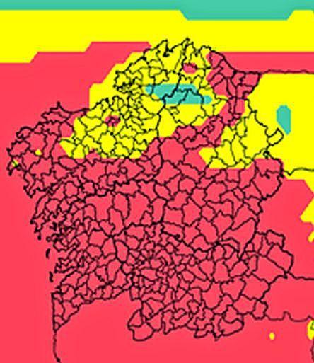 Predicción de MeteoGalicia para hoy. La calidad del aire seguirá siendo mala (en rojo)  durante la mañana en casi toda la comunidad.