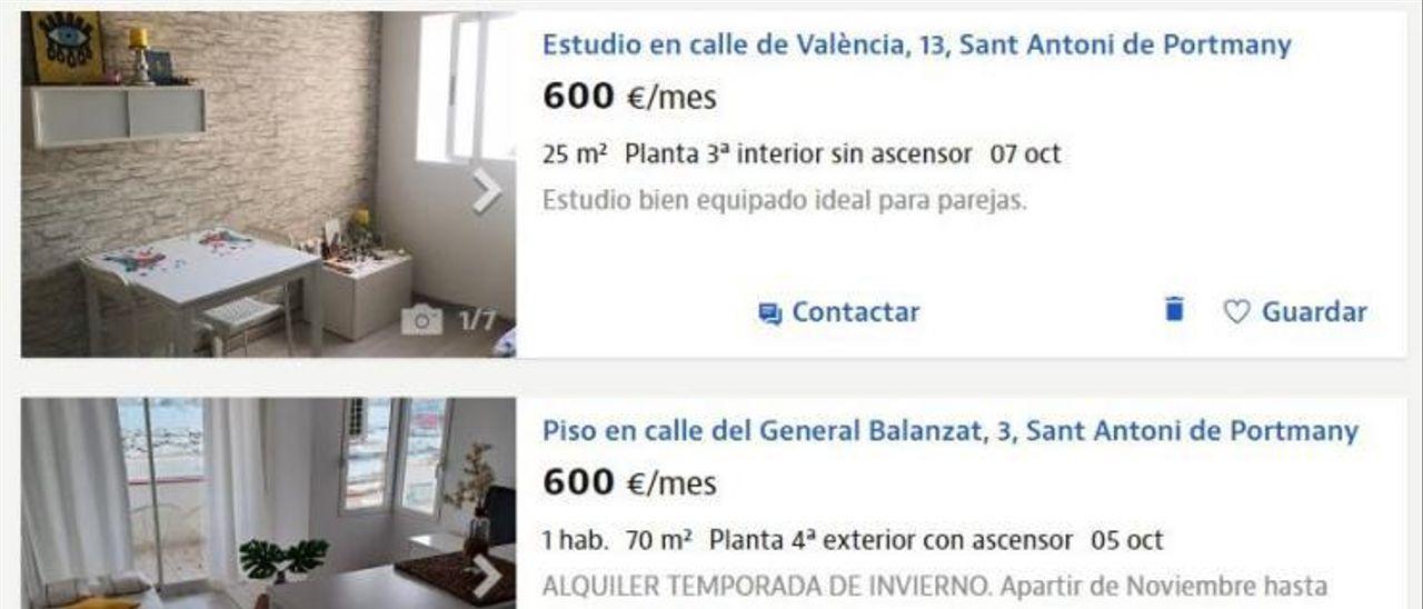 Algunos de los pisos en alquiler de hasta 600 euros en Idealista.