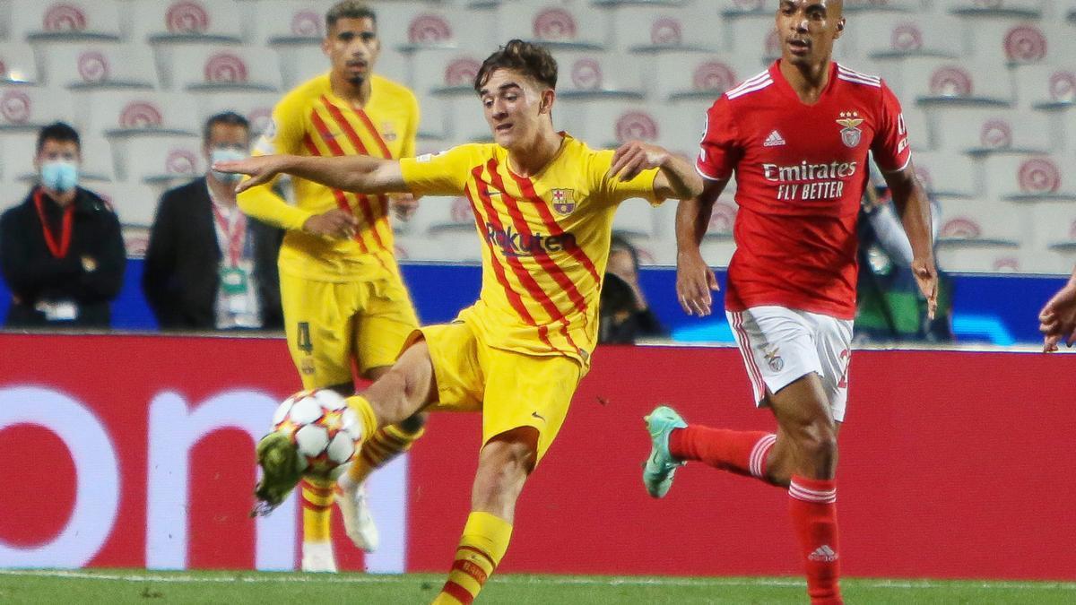 Gavi, en el partido de Champions ante el Benfica.
