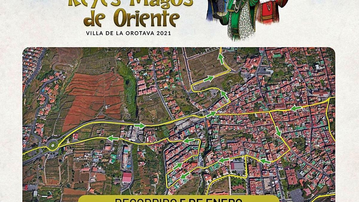Un fragmento del recorrido de los Reyes Magos de Oriente por la Villa de La Orotava.
