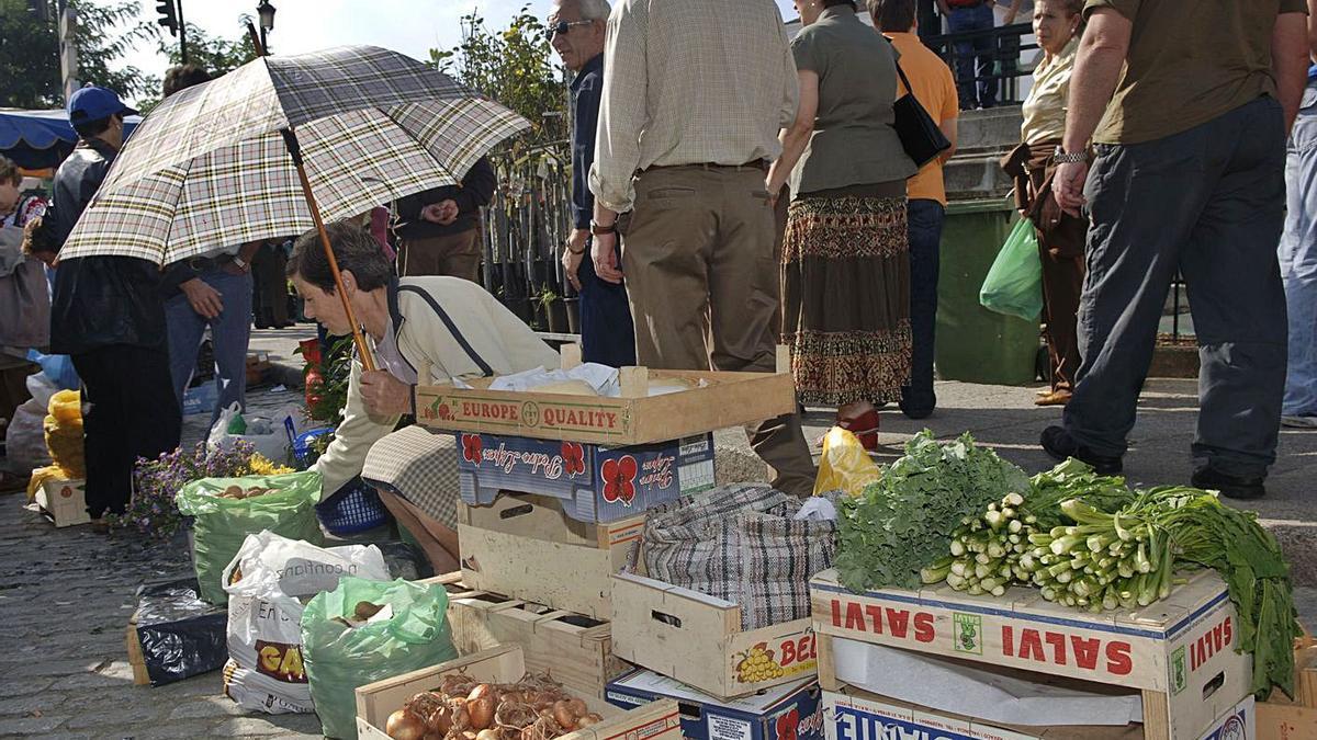 Una pequeña agricultora vende productos de la huerta en una feria antes de la pandemia. |   // VÍCTOR ECHAVE