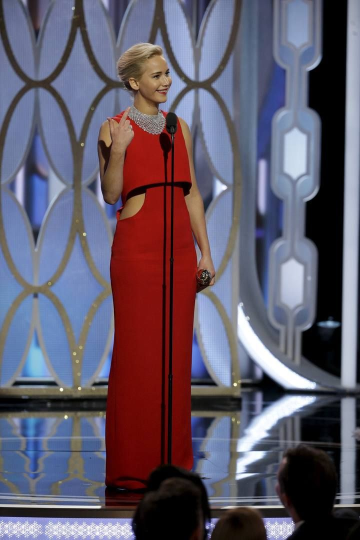 "Lawrence speaks after winning Best Actress - Motion Picture, Comedy for her performance in ""Joy"", at the 73rd Golden Globe Awards in Beverly Hills"