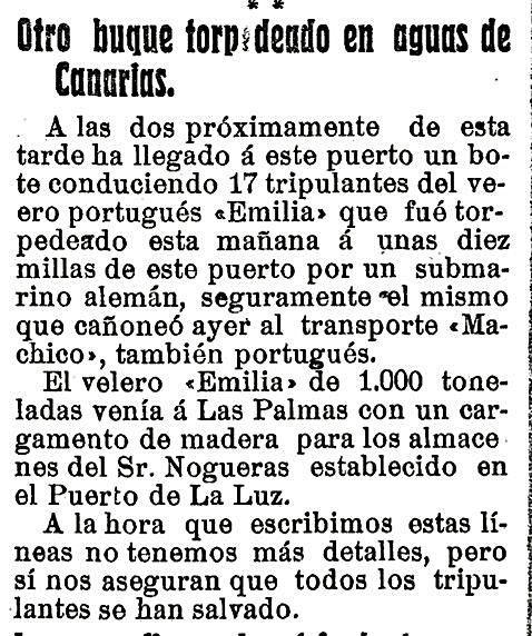 recorte del periódico 'Diario de Las Palmas' con incidentes relacionados con la Gran Guerra.