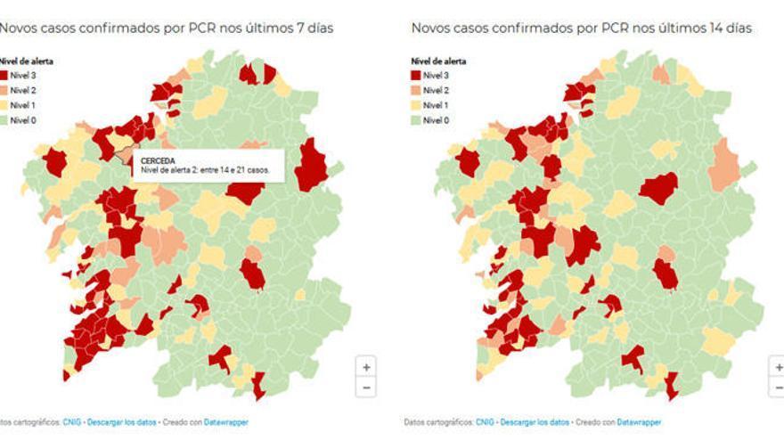 ¿Cuál es la alerta por Covid-19 en los concellos del área de A Coruña?