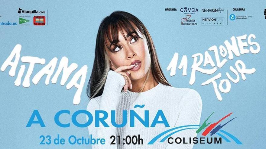Aitana actuará el 23 de octubre en el Coliseum para presentar su nuevo disco, '11 razones'
