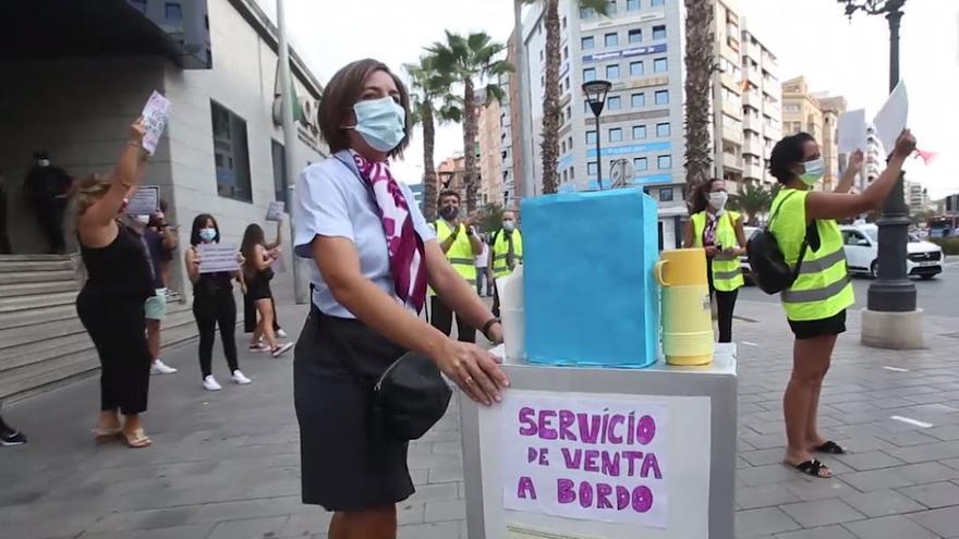 Protesta de trabajadores del AVE y el Euromed