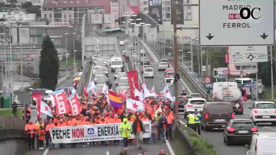 Manifestación de trabajadores de Alcoa sin grandes afecciones al tráfico