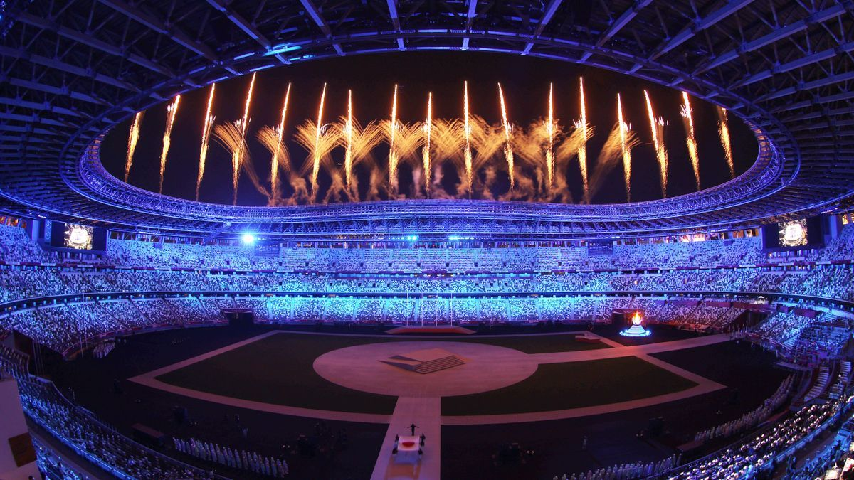 An image of the closing ceremony of the Olympic Games.