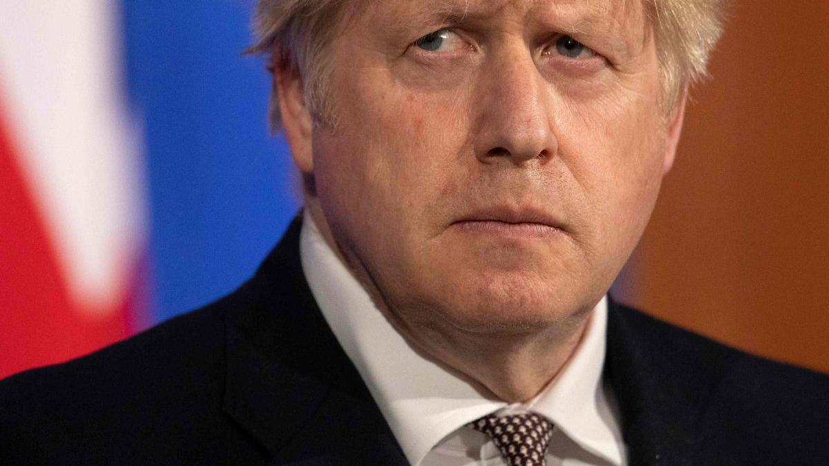 Boris Johnson en una rueda de prensa.