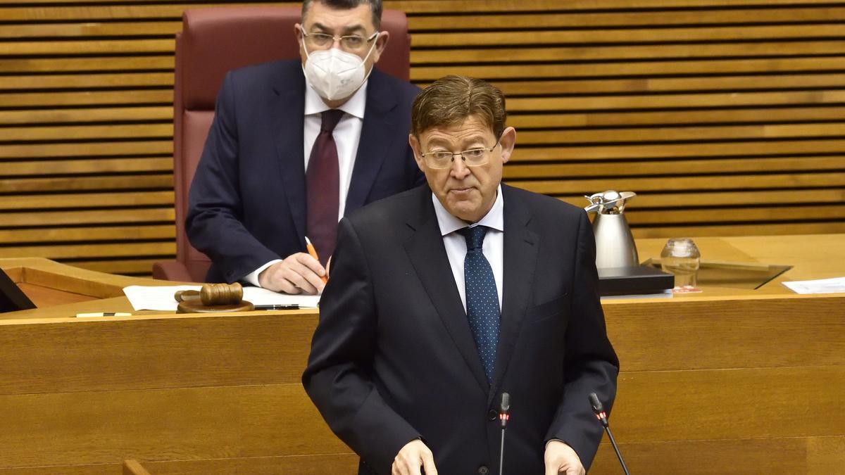 Ximo Puig en la sesión de control de las Cortes