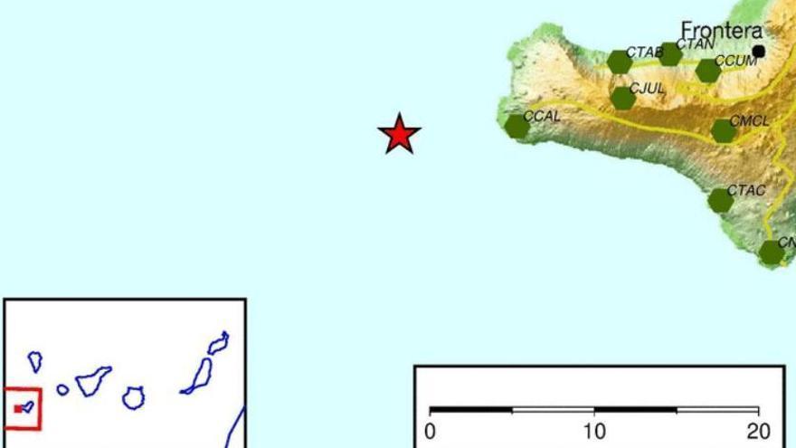 EL IGN registra un temblor al oeste de El Hierro