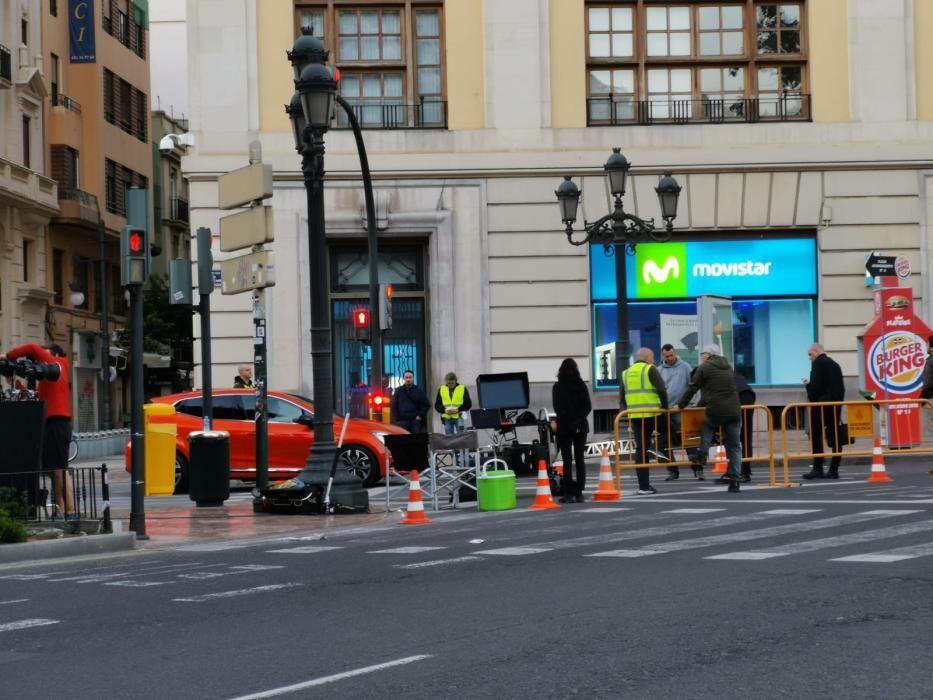 Rodaje de un spot publicitario en la plaza del Ayuntamiento de València