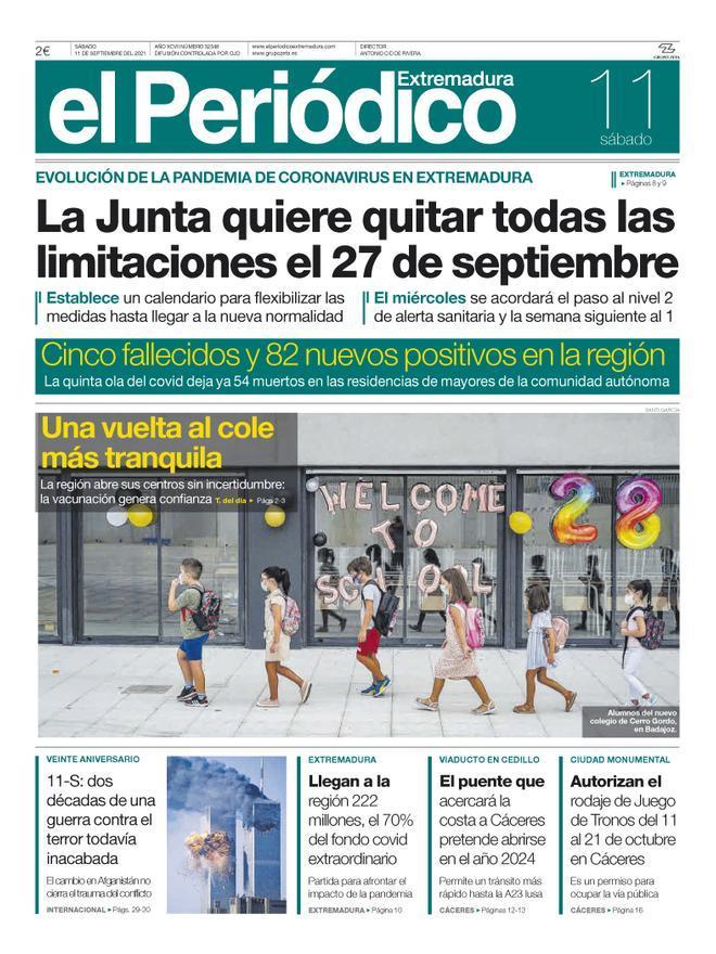 Consulta la portada correspondiente al día 11 de septiembre del 2021