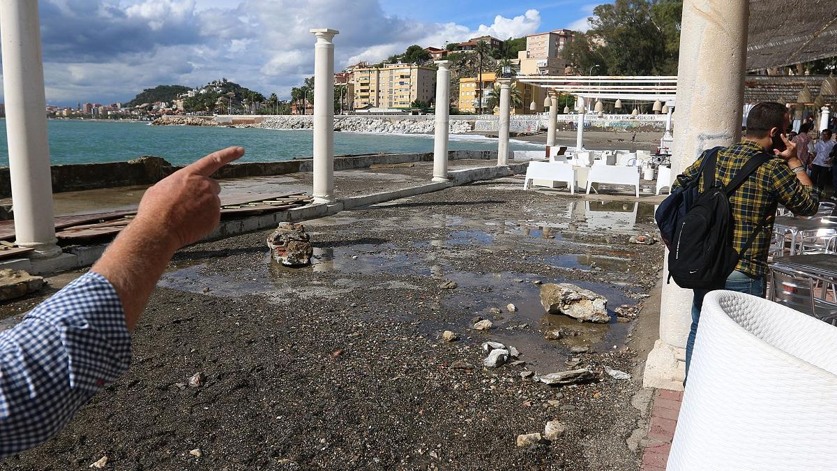 Consecuencias de un temporal en los Baños del Carmen.