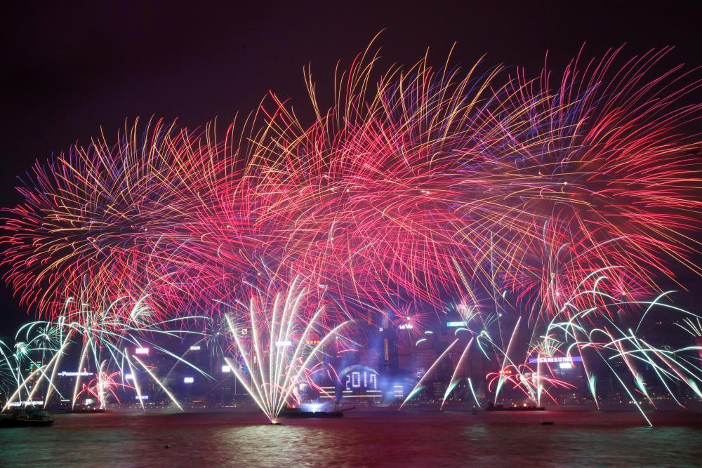 Fuegos artificiales en Hong Kong.