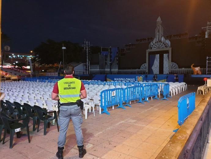 Escenario del Carnaval de Maspalomas, suspendido por el coronavirus