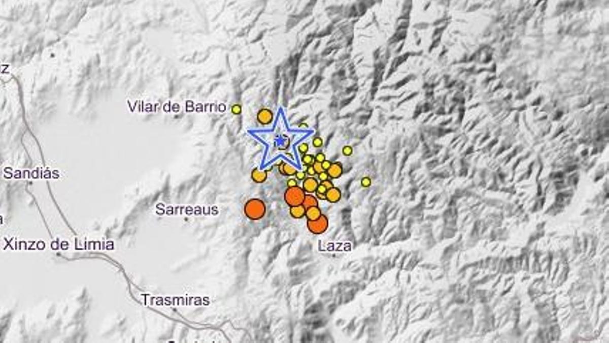 El epicentro del terremoto de 3,9 mbLg en Laza.